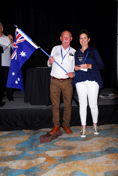 Charlie and Linda Mitchell with Australian Flag accepting 3rd Place Trophy-BJ8 Ph2-3