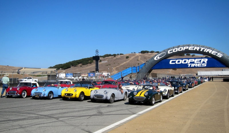 Healeys under the Cooper Tire Bridge at Laguna Seca